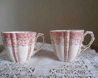 Pink and white vintage china teacups