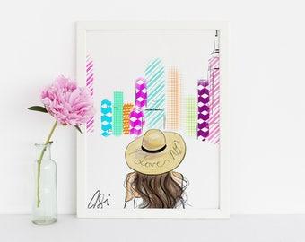 I love NYC (Fashion Illustration Print) (Fashion Illustration Art - Fashion Sketch prints - Home Decor - Wall Decor )