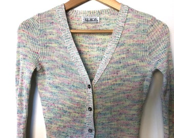 vintage 70s rainbow sweater cardigan sweater pastel sweater boho sweater bell sleeve flare sleeve sweater rainbow striped sweater retro 1970