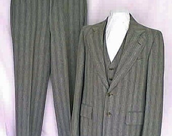 1968 Cricketeer 3 Piece Suit Gray Wool Stripe Wide Tan and Brown Stripe