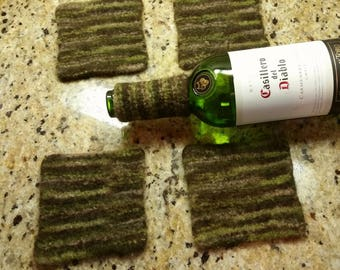 Coasters AND wine collar bottle collar drip catcher green brown tan hand knit felted wool