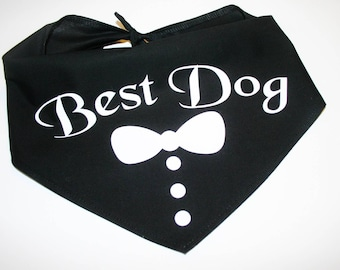 Dog BANDANA, Custom Dog Bandana, Wedding, Best Dog, Tuxedo, Personalized Dog Bandana, Dog Scarf, Dog, Green, Blue, Pink, Red, Black