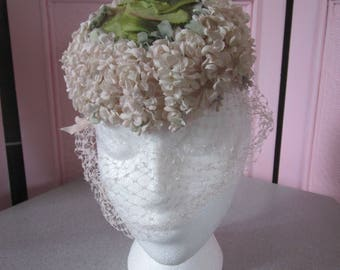 1960s Small Floral Pillbox Hat with Veil