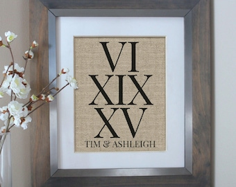 Roman Numerals Anniversary Gift | BURLAP | Wedding Date Sign | Important Date Sign | Numbers Wall Art | Wedding Date | Wedding Gift