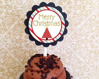 12 christmas party cupcake toppers, holiday party toppers, merry christmas glitter cupcake toppers--set of 12