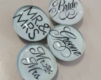 Set of 4 Strong Glass Wedding Marriage Magnets, Mr. And Mrs. Bride and Groom, Husband and Wife magnets, wedding, anniversary gift
