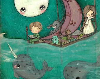 Narwhal Print Whimsical Childrens Nautical Nursery Wall Art Print Fairy Tale---Dreaming of Narwhals