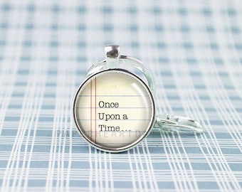 Once Upon a Time Keychain - Book Lover Keychain - Keychain for Reader - Book Quote Keychain - Silver Quote Keychain - Book Gifts -  (F5665)