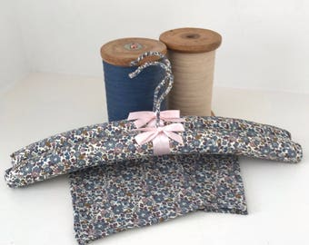 Set of two handmade Liberty Print padded clothes hangers.