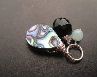 Abalone Shell, Black Onyx, Mint Green Jade wire wrapped Interchangeable bracelet charm, necklace pendant