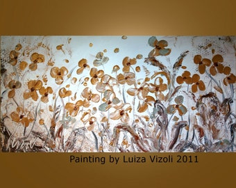 Modern Abstract 72x36 Large Textured Palette Knife Impasto Flowers Painting White and Gold by Luiza Vizoli