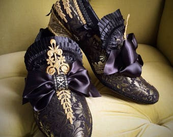 Men's Brocade Shoes Black Satin Gold Lace Rococo Baroque Heels 17th 18th Century Costume Historical Reenactment Leather Paris Fashion Groom
