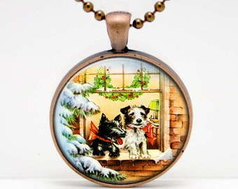 Dog in a Window Vintage Holiday Altered Art Glass Pendant or Key Chain- 30 mm round- Chain Included- Made to Order