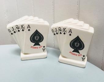 Vintage 1960s Atlantic City Gambling Blackjack Poker Salt & Pepper Shakers