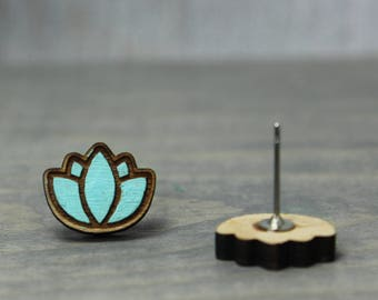 Lotus Earrings Earrings, Wood Earrings, Yoga Earrings, Zen Earrings, Painted Earrings, Hand Painted, Nature Earrings, Nature Jewelry
