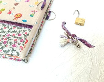 Secret book with lock / diary in linen / artist book / notebook / travel journal / notebook in fabric / teenager gift