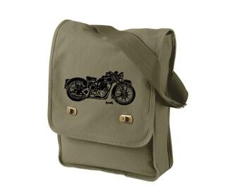 Motorcycle Messenger Bag, Road Bike Dead Field Bag, Motorcycle Purse, Hand Screen-printed Cross-body Bag Messenger Bag Motorcycle Rider Gift