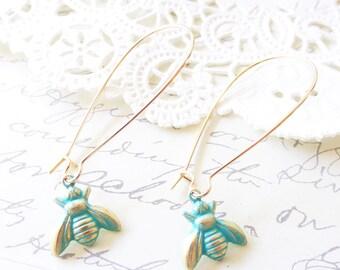 Verdigris Bee Earrings - Mint Bumble Bee Earrings - Honey Bee - Dangle Earrings - Woodland - Green Bumblebee Earrings