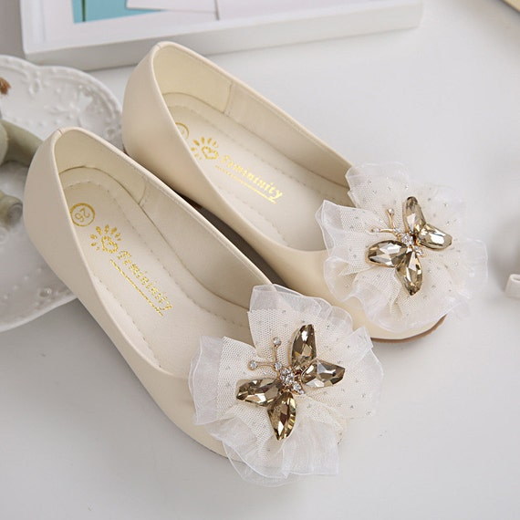 Ivory Girls Shoes Toddler Flower Girl Shoes Champagne
