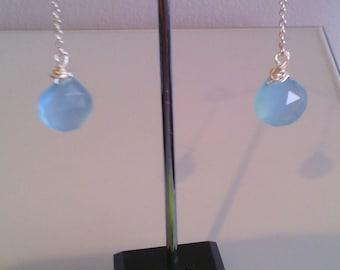 Blue Chalcedony and 925 Sterling Silver Tear Drop  Earrings