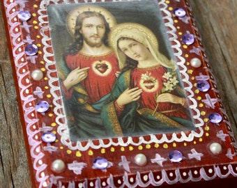 Sacred Heart of Jesus and Immaculate Heart of Mary Upcycled Prayer Card Retablo - Wooden Plaque Wall Hanging Art 4 x 5.5 inches Catholic Art