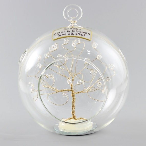 Pin On Wedding Anniversary 2020: 50th Anniversary Gift Personalized Ornament Gold With Clear