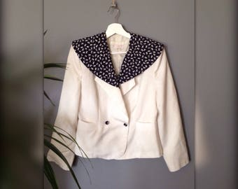 Navy Blue and white linen blazer jacket deckhand sailor vintage french 80's / 90 s (38 - M)