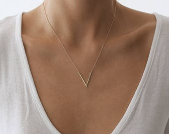 V Necklace, Gold Necklace, Simple Necklace,  Layering Necklace, Delicate Gold Necklace