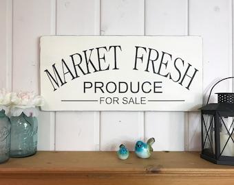 "Kitchen sign | market fresh produce | rustic wood sign | farmhouse decor | kitchen wall decor | fixer upper decor | 11.25 x 24"""