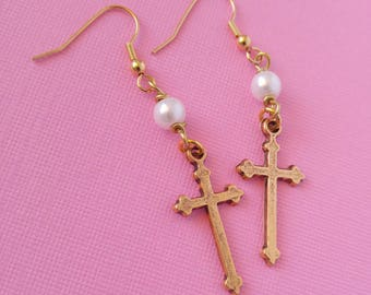 Gold Cross, Party Kei Earrings with Glass Pearls, pastel goth earrings dark lolita, pastel grunge, pastel goth, cult party kei, creepy cute