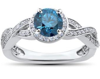 Blue Diamond Engagement Ring 1.00ct Halo Blue Diamond Engagement Ring Vintage Antique Style 14K White Gold, Infinity Ring, Diamond Ring