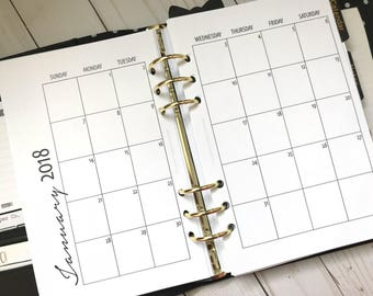 Monthly On 2 Pages Single Sided Printed Planner Inserts -Half Letter Size For A5 Planners - Grid or Dot Grid | MO2P