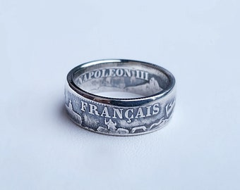 Ring coin 2 francs napoleon in Silver (coin ring)