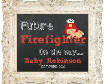 Digital download, We're expecting, pregnancy announcement,firefighter pregnancy,printable,announcement, facebook, social media 8x10 or 16x20
