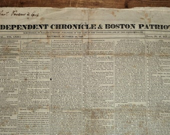 Paul Revere's Granddaughter - Independent Chronicle and Boston Patriot - October 28, 1826 - FREE Domestic Shipping