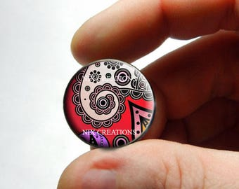 Glass Cabochon - Art Deco Floral Design 9 - for Jewelry and Pendant Making