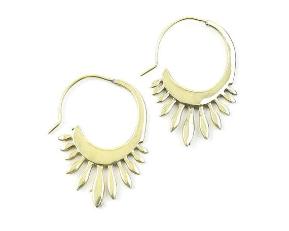 Kendari Earrings, Ethnic Earrings, Tribal Brass Earrings, Festival Earrings, Gypsy Earrings, Hoop Earrings