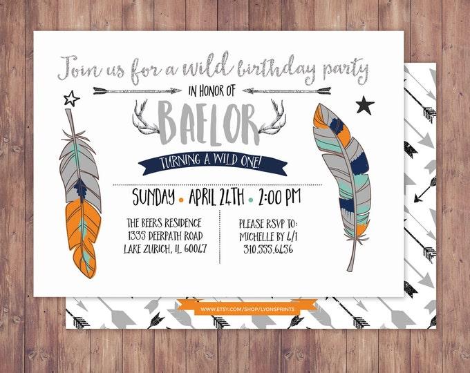 Tribal, birthday Invitation, BOHO birthday Invite, feathers , invitation, arrows, pow wow, baby girl, baby boy, first birthday, 1st, wild