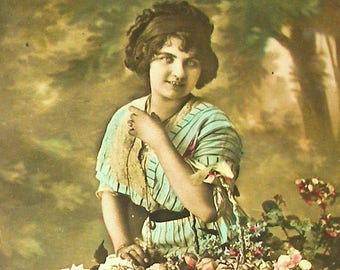 1900s French postcard Edwardian lady with basket of flowers,  RPPC real photo, paper ephemera.