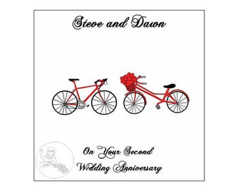 Handmade Personalised Second Wedding Anniversary Card 2nd Road Bikes Bicycle Hearts Cotton