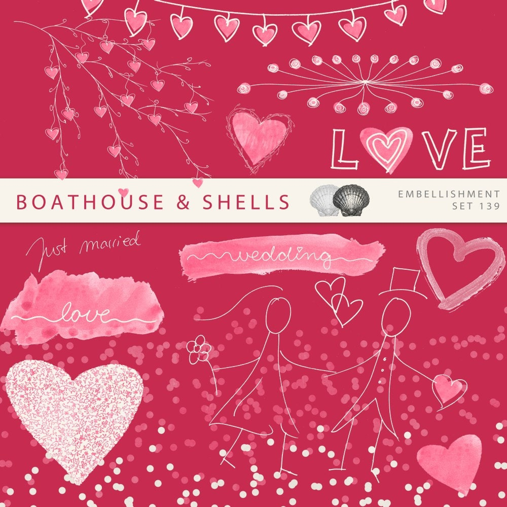 15 Wedding Embellishments, Digital Clipart for the save the date ...
