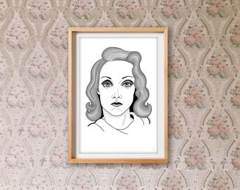 40s Lady Print– Vintage Print – living room décor – Home décor – Home and Living – drawing – workspace décor – shop decor