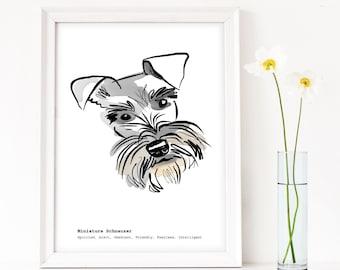 Schnauzer Wall Art, Personalised Mini Schnauzer print, gift for Schnauzer lover, miniature schnauzer art, gift for dog lover, Schnauzer gift