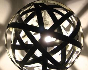 Orbits, urban chandelier, recycled wine barrel metal hoops, galvanized steel bands, ceiling light fixture