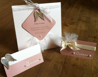 Iridescent white and pink Angel wings and feather place card