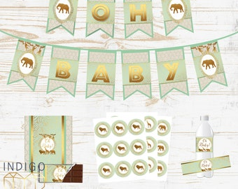 Baby Shower Decorations Pack, Mint and Gold Safari Baby Shower Package, DIY Party Printable Gender Neutral Safari Baby Shower Party Decor