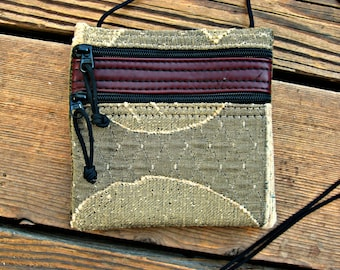 SALE: Shoulder Bag - Textured Gold Tapestry and Leather (small) - Handmade in Oregon