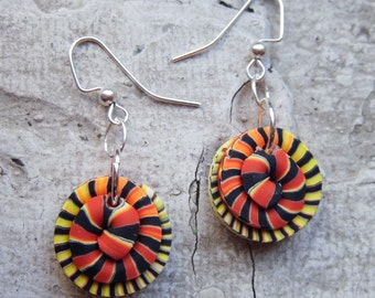 Flaming Stacker Bead Earrings .. handmade polymer clay beads