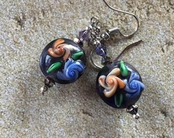 Dangle Earrings, Black and Purple  Flower Earrings, Lampwork, Glass Earrings, Lampwork Jewelry, Summer Earrings, Summer Jewelry
