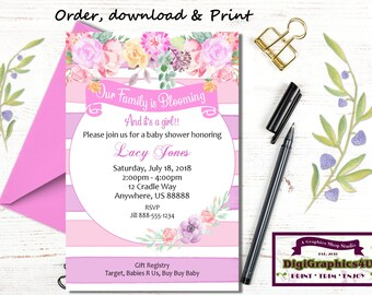 Watercolor Spring Floral Baby Shower, Baby is Blooming, It's a Girl Invitation - Personalized Digital File